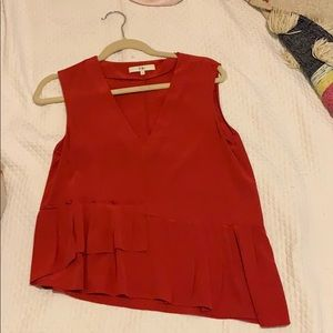 Toni red silk top